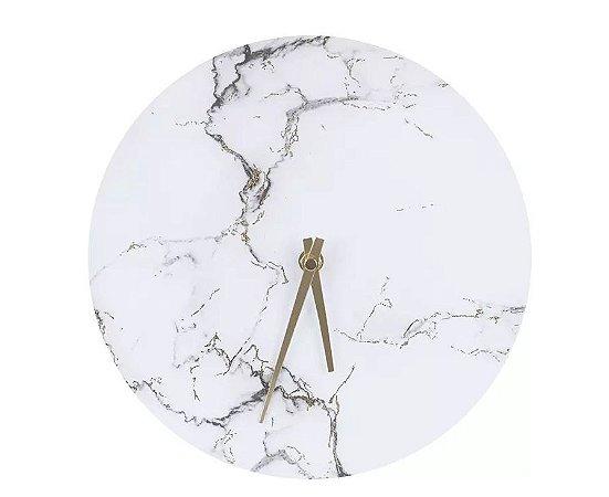 Relógio Vidro Marmorizado Decorativo Branco 25cm