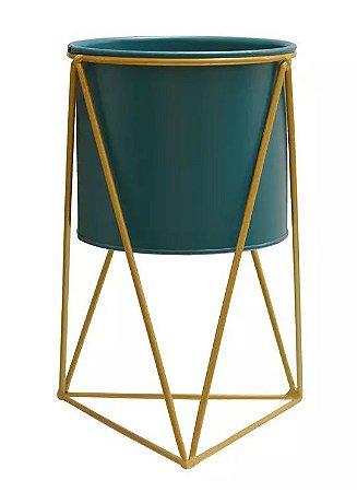 Vaso Metal com Suporte em Metal Azul Dourado 26x15cm