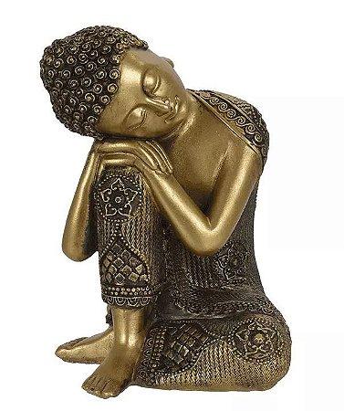 Escultura Buda Resina Dourado 16,5x12cm
