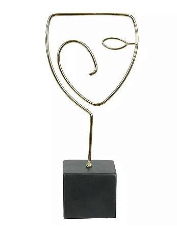 Escultura Face Metal Cerâmica Dourado 25,4x11,8cm