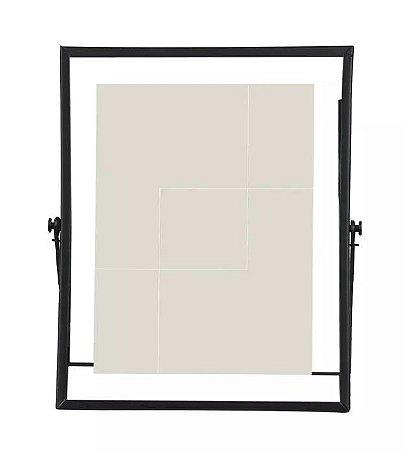 Porta-retrato Metal Vidro Preto 15x20cm