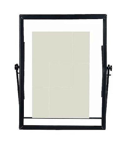 Porta-retrato Metal Vidro Preto 10x15cm