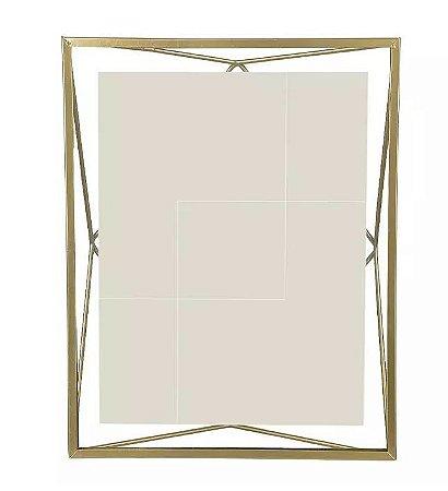 Porta-retrato Metal Geométrico Dourado 20x25cm