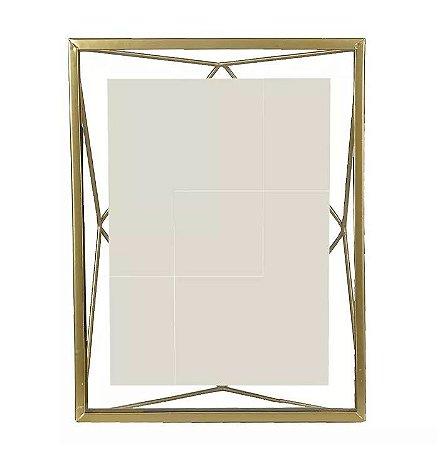 Porta-retrato Metal Geométrico Dourado 15x20cm