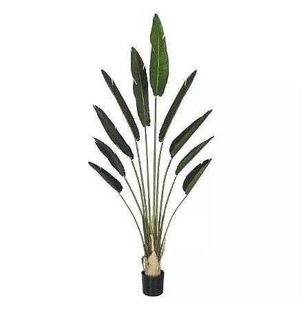 Planta Árvore Artificial Palmeira Viajante com Pote Verde 2,1m