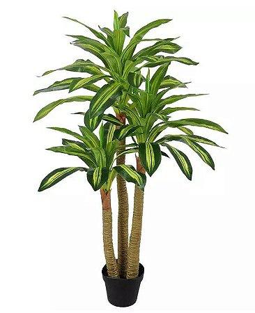 Planta Árvore Artificial Dracena Real Toque com Pote Verde Creme 1,2m