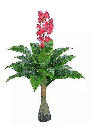 Planta Árvore Artificial Flor Rosa 1,1m