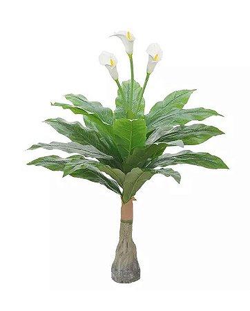 Planta Árvore Artificial Copo-de-Leite Branco Real Toque 1m