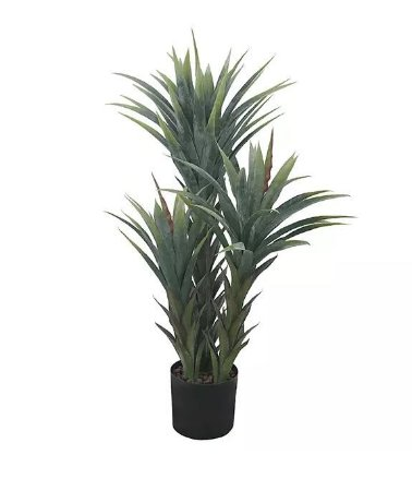 Planta Árvore Artificial Agave Com Powder Verde 95cm