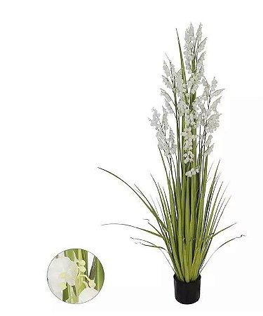 Planta Árvore Artificial Grass com Flor Branco 1,4m