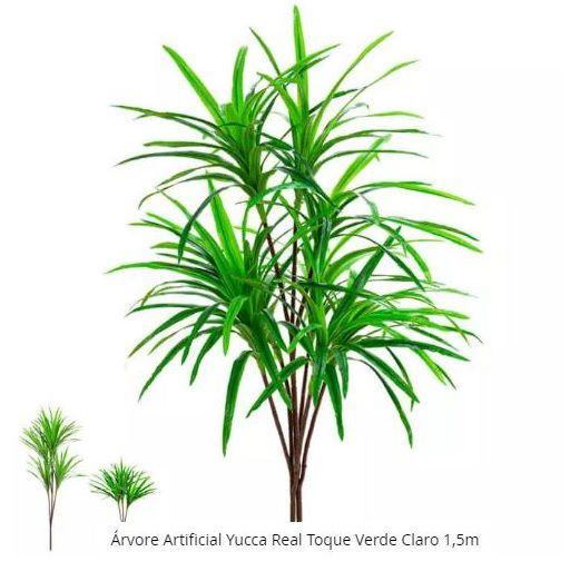 Planta Árvore Artificial Yucca Real Toque Verde Claro 1,5m