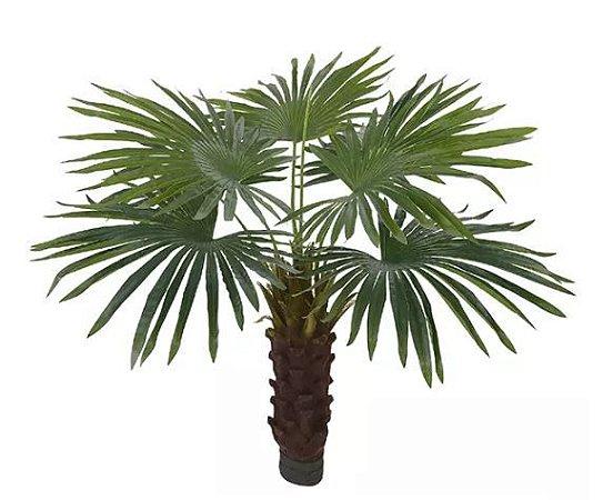 Planta Árvore Artificial Palmeira Leque Real Toque Com Flocked Verde 1,1m