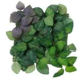 Folhagem Artificial Placa Folha Verde Roxo 25x25cm