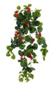 Folhagem Artificial Gerânio Pendente Verde Vermelho 79cm