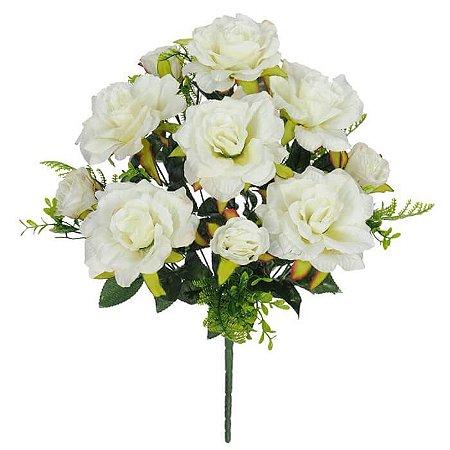 Buquê Flor Artificial Rosa Creme 50cm