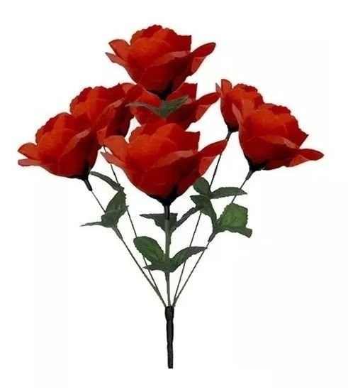Buquê Rosa Artificial Vermelho 32cm