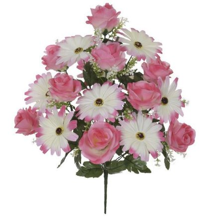 Buquê Rosa Margarida Cetim X18 (ROSA) 54cm