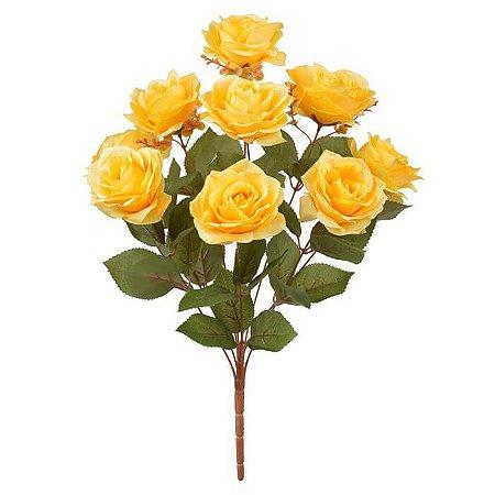 Buquê Flor Artificial Rosa Amarelo Outonado 55cm