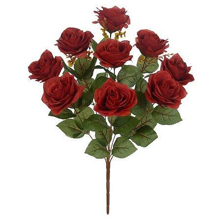Buquê Flor Artificial Rosa Vermelho Marsala 55cm