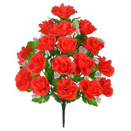 Buquê Flor Artificial Rosa Vermelho 54cm