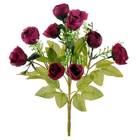 Buquê Flor Artificial Ranúnculo Rosa Antigo 30cm