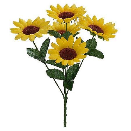 Buquê Flor Artificial Girassol Amarelo 28cm
