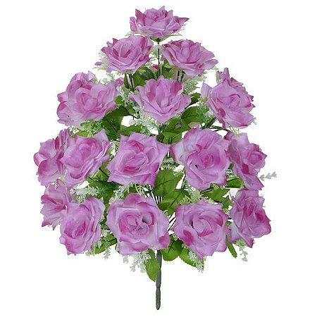 Buquê Flor Artificial Rosa Lavanda 56cm