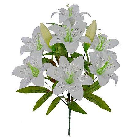 Buquê Flor Artificial Lírio Branco 45cm