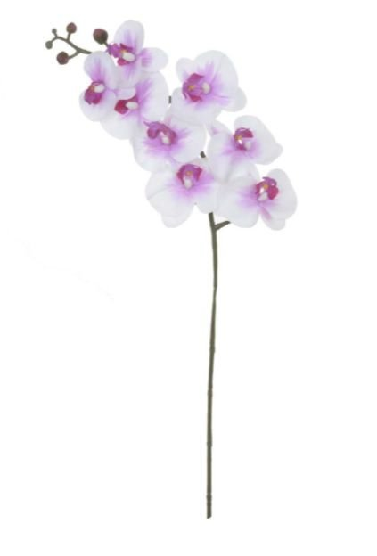 Haste Flor Artificial Orquídea Phalaenopsis Real Toque X8 Branco Beauty 90cm