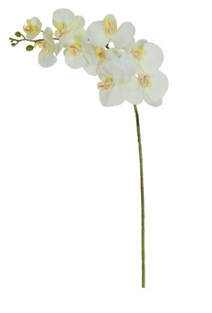 Haste Flor Artificial Orquídea Phalaenopsis Real Toque X9 3D 93cm