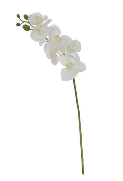 Haste Flor Artificial Orquídea Phalaenopsis Real Toque X6 Branco 70cm