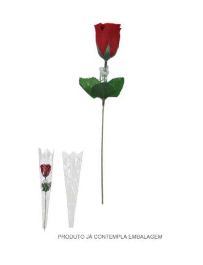 Haste de Rosa Botão Aveludado Vermelho 31cm