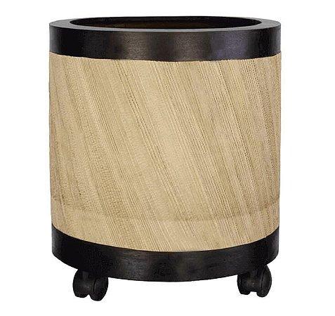Vaso Cachepot Madeira Cilíndrico Bege com Rodas 33cm