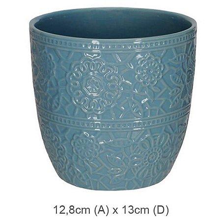 Vaso Cerâmica Decorado Azul 12,8x13cm