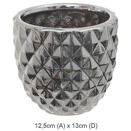 Vaso Cerâmica Decorado Prata 12,5x14cm