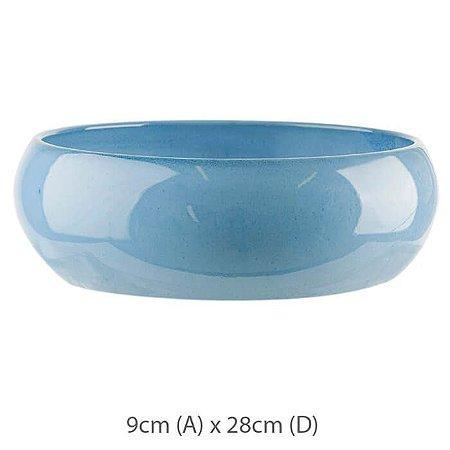 Vaso Cerâmica Bacia Azul Vietnamita 9x28cm