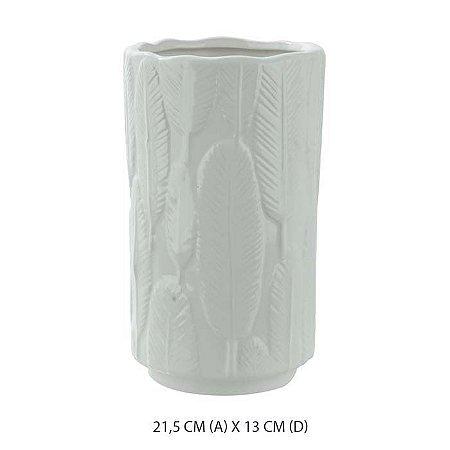 Vaso Cerâmica Decorado Folha Branco Fosco 21,5x13cm