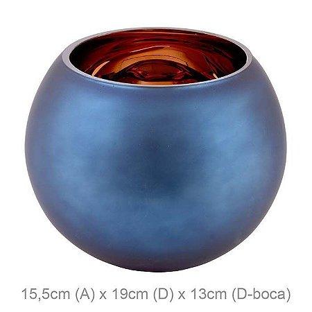 Vaso Vidro Aquário Azul Cobre 15,5x19cm