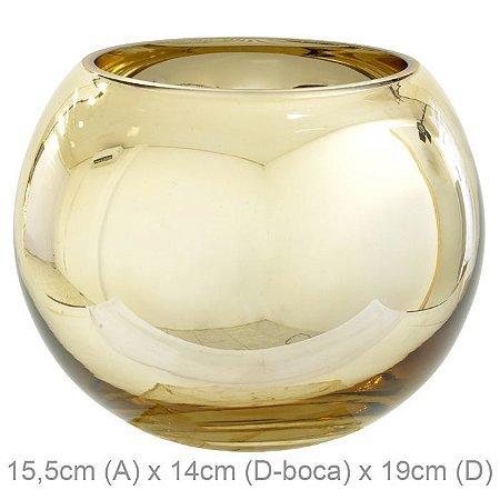 Vaso Vidro Aquário Dourado 15,5x16cm