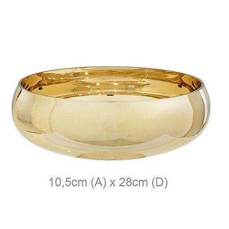 Vaso Vidro Bacia Redondo Dourado 10,5x28cm