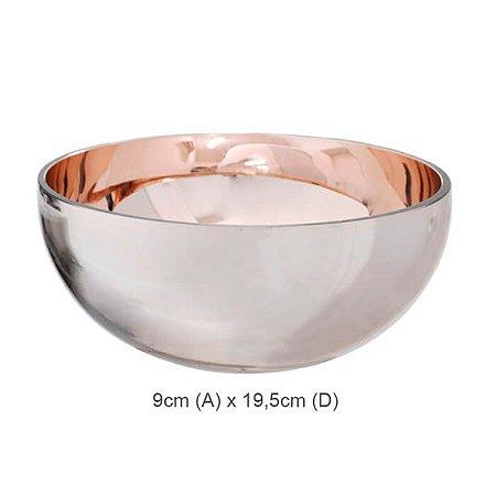 Vaso Vidro Bacia Rosé 9x19,5cm