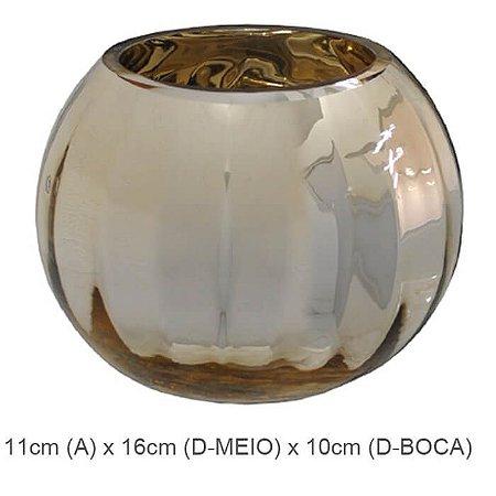 Vaso Vidro Aquário Dourado 11cm
