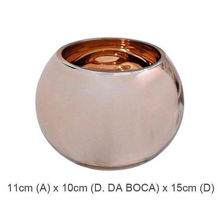 Vaso Vidro Aquário Espelhado Rosé 11cm