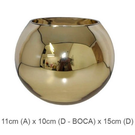 Vaso Vidro Aquário Espelhado Dourado 11cm