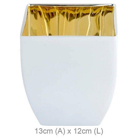 Vaso Vidro Branco Fosco Dourado 13x12cm