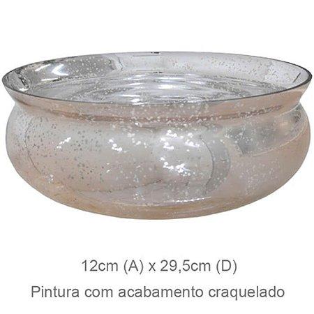 Vaso Vidro Bacia Craquelado Rosé 12x29,5cm