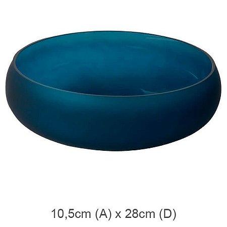 Vaso Vidro Bacia Azul Escuro 10,5x28cm