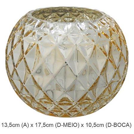 Vaso Vidro Aquário Decorado Dourado 13,5cm