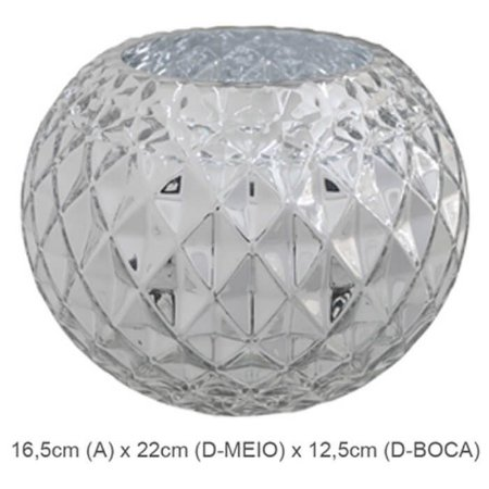 Vaso Vidro Aquário Decorado Prata 16,5cm