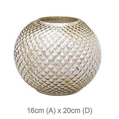 Vaso Vidro Aquário Craquelado Dourado 16x20cm